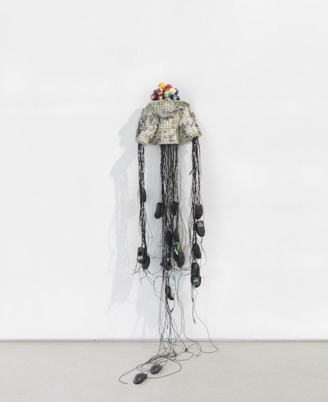 JUST NUMBERS, 2019. Computer keys, mutton cloth, mixed media sculpture, 185 x 47 x 55 cm